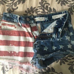 Bullhead high rise American flag shorts